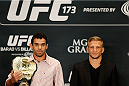 LAS VEGAS, NV - MAY 22:  (L-R) Opponents Renan Barao and T.J. Dillashaw pose for photos during the UFC 173 Ultimate Media Day at the MGM Grand Hotel/Casino on May 22, 2014 in Las Vegas, Nevada.  (Photo by Josh Hedges/Zuffa LLC/Zuffa LLC via Getty Images)