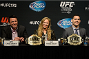 LAS VEGAS, NV - MAY 23:  (L-R) Chael Sonnen, UFC Women's Bantamweight Champion Ronda Rousey and UFC Middleweight Champion Chris Weidman speak to the media during the UFC 175 & The Ultimate Fighter Finale On-Sale Press Conference at the MGM Grand Garden Arena on May 23, 2014 in Las Vegas, Nevada. (Photo by Jeff Bottari/Zuffa LLC/Zuffa LLC via Getty Images)