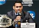 LAS VEGAS, NV - MAY 23:  UFC middleweight champion Chris Weidman interacts with fans and media during the UFC press conference at the MGM Grand Garden Arena on May 23, 2014 in Las Vegas, Nevada.  (Photo by Josh Hedges/Zuffa LLC/Zuffa LLC via Getty Images)