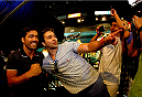 LAS VEGAS, NV - MAY 23: Lyoto Machida take a photo with a fan during the UFC 175 & The Ultimate Fighter Finale On-Sale Press Conference at the MGM Grand Garden Arena on May 23, 2014 in Las Vegas, Nevada. (Photo by Brandon Magnus/Zuffa LLC/Zuffa LLC via Getty Images)