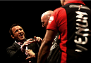 LAS VEGAS, NV - MAY 23: President Dana White steps between opponents Chael Sonnen (L) and Wanderlei Silva (R) after a heated face off during the UFC 175 & The Ultimate Fighter Finale On-Sale Press Conference at the MGM Grand Garden Arena on May 23, 2014 in Las Vegas, Nevada. (Photo by Brandon Magnus/Zuffa LLC/Zuffa LLC via Getty Images)