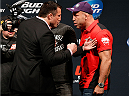 LAS VEGAS, NV - MAY 23:  (L-R) Opponents Chael Sonnen and Wanderlei Silva face off during the UFC press conference at the MGM Grand Garden Arena on May 23, 2014 in Las Vegas, Nevada.  (Photo by Josh Hedges/Zuffa LLC/Zuffa LLC via Getty Images)