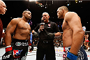 LAS VEGAS, NV - MAY 24:  Daniel Cormier (left) and Dan Henderson (right) face off before their light heavyweight bout during the UFC 173 event at the MGM Grand Garden Arena on May 24, 2014 in Las Vegas, Nevada. (Photo by Josh Hedges/Zuffa LLC/Zuffa LLC via Getty Images)