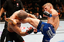 LAS VEGAS, NV - MAY 24:  (R-L) T.J. Dillashaw kicks Renan Barao in their bantamweight championship bout during the UFC 173 event at the MGM Grand Garden Arena on May 24, 2014 in Las Vegas, Nevada. (Photo by Josh Hedges/Zuffa LLC/Zuffa LLC via Getty Images)