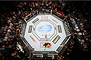 LAS VEGAS, NV - MAY 24:  An overhead view of the Octagon as T.J. Dillashaw reacts after knocking out Renan Barao in the fifth round to win the UFC bantamweight championship during the UFC 173 event at the MGM Grand Garden Arena on May 24, 2014 in Las Vegas, Nevada. (Photo by Josh Hedges/Zuffa LLC/Zuffa LLC via Getty Images)