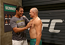SAO PAULO, BRAZIL - FEBRUARY 17:  (L-R) Antonio Rodrigo 'Minotauro' Nogueira talks with Team Sonnen fighter Vitor Miranda before facing Team Wanderlei fighter Richardson Moreira in their middleweight fight during season three of The Ultimate Fighter Brazil on February 17, 2014 in Sao Paulo, Brazil. (Photo by Luiz Pires Dias/Zuffa LLC/Zuffa LLC via Getty Images) *** Local Caption *** Vitor Miranda;Antonio Rodrigo 'Minotauro' Nogueira