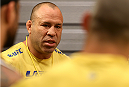 SAO PAULO, BRAZIL - FEBRUARY 17:  Coach Wanderlei Silva speaks in the locker room after Team Sonnen fighter Victor Miranda celebrates his victory over Team Wanderlei fighter Richardson Moreira in their middleweight fight during season three of The Ultimate Fighter Brazil on February 17, 2014 in Sao Paulo, Brazil. (Photo by Luiz Pires Dias/Zuffa LLC/Zuffa LLC via Getty Images) *** Local Caption *** Wanderlei Silva