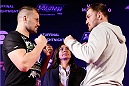 SAO PAULO, BRAZIL - MAY 29:  (L-R) Opponents Fabio Maldonado and Stipe Miocic face off before an open training session for media at the Renaissance Hotel on May 29, 2014 in Sao Paulo, Brazil. (Photo by Josh Hedges/Zuffa LLC/Zuffa LLC via Getty Images)