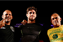 SAO PAULO, BRAZIL - MAY 29:  Antonio Carlos Junior (center) poses for photos after an open training session for media at the Renaissance Hotel on May 29, 2014 in Sao Paulo, Brazil. (Photo by Josh Hedges/Zuffa LLC/Zuffa LLC via Getty Images)