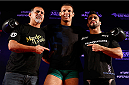 SAO PAULO, BRAZIL - MAY 29:  Marcio Alexandre (center) poses for photos after an open training session for media at the Renaissance Hotel on May 29, 2014 in Sao Paulo, Brazil. (Photo by Josh Hedges/Zuffa LLC/Zuffa LLC via Getty Images)
