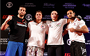 SAO PAULO, BRAZIL - MAY 29:  Vitor Miranda (second right) poses for photos after an open training session for media at the Renaissance Hotel on May 29, 2014 in Sao Paulo, Brazil. (Photo by Josh Hedges/Zuffa LLC/Zuffa LLC via Getty Images)