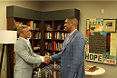 SACRAMENTO, CA - MAY 29:  UFC Star TJ Dillashaw (L) meets with Sacramento Mayor Kevin Johnson at City Hall on May 29, 2014 in Sacramento, California.  (Photo by Alexis Cuarezma/Zuffa LLC/Getty Images)