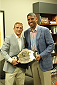 SACRAMENTO, CA - MAY 29:  UFC Star TJ Dillashaw (L) poses for a picture with Sacramento Mayor Kevin Johnson at City Hall on May 29, 2014 in Sacramento, California.  (Photo by Alexis Cuarezma/Zuffa LLC/Getty Images)