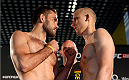 BERLIN, GERMANY - MAY 30:  Opponents Peter Sobotta (L) and Pawel Pawlak (R) face off during the UFC weigh-in at O2 World on May 30, 2014 in Berlin, Germany.  (Photo by Boris Streubel/Zuffa LLC/Zuffa LLC via Getty Images)