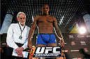 BERLIN, GERMANY - MAY 30:  Francis Carmont poses during the UFC weigh-in at O2 World on May 30, 2014 in Berlin, Germany.  (Photo by Boris Streubel/Zuffa LLC/Zuffa LLC via Getty Images)