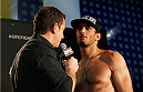BERLIN, GERMANY - MAY 30:  Gegard Mousasi (R) gives an interview after the UFC weigh-in at O2 World on May 30, 2014 in Berlin, Germany.  (Photo by Boris Streubel/Zuffa LLC/Zuffa LLC via Getty Images)