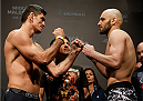SAO PAULO, BRAZIL - MAY 30:  (L-R) Opponents Paulo Thiago and Gasan Umalatov face off during the UFC Fight Night weigh-in at the Ginasio do Ibirapuera on May 30, 2014 in Sao Paulo, Brazil.  (Photo by Josh Hedges/Zuffa LLC/Zuffa LLC via Getty Images)