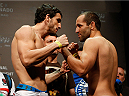 SAO PAULO, BRAZIL - MAY 30:  (L-R) Opponents Elias Silverio and Ernest Chavez face off during the UFC Fight Night weigh-in at the Ginasio do Ibirapuera on May 30, 2014 in Sao Paulo, Brazil.  (Photo by Josh Hedges/Zuffa LLC/Zuffa LLC via Getty Images)