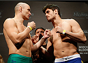 SAO PAULO, BRAZIL - MAY 30:  (L-R) Opponents Vitor Miranda and Antonio Carlos Junior face off during the UFC Fight Night weigh-in at the Ginasio do Ibirapuera on May 30, 2014 in Sao Paulo, Brazil.  (Photo by Josh Hedges/Zuffa LLC/Zuffa LLC via Getty Images)