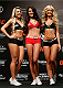 SAO PAULO, BRAZIL - MAY 30:  (L-R) UFC Octagon Girls Fernanda Hernandes, Camila Rodrigues de Oliveira, and Jhenny Andrade pose for a photo on stage during the UFC Fight Night weigh-in at the Ginasio do Ibirapuera on May 30, 2014 in Sao Paulo, Brazil.  (Photo by Josh Hedges/Zuffa LLC/Zuffa LLC via Getty Images)