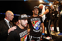 BERLIN, GERMANY - MAY 31:  Gegard Mousasi (C) leaves the octagon after winning the Gegard Mousasi vs. Mark Munoz match at UFC Fight Night Berlin event at O2 World on May 31, 2014 in Berlin, Germany. (Photo by Boris Streubel/Zuffa LLC/Zuffa LLC via Getty Images)