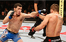 SAO PAULO, BRAZIL - MAY 31: (L-R) Rashid Magomedov punches Rodrigo Damm in their lightweight fight during the UFC Fight Night event at the Ginasio do Ibirapuera on May 31, 2014 in Sao Paulo, Brazil. (Photo by Josh Hedges/Zuffa LLC/Zuffa LLC via Getty Images)