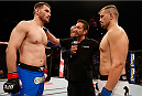 SAO PAULO, BRAZIL - MAY 31:  (L-R) Opponents Stipe Miocic and Fabio Maldonado face off before their heavyweight fight during the UFC Fight Night event at the Ginasio do Ibirapuera on May 31, 2014 in Sao Paulo, Brazil. (Photo by Josh Hedges/Zuffa LLC/Zuffa LLC via Getty Images)
