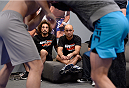 LAS VEGAS, NV - NOVEMBER 15:  Head Coach BJ Penn watches team Penn fighter Mike King warm up before facing team Edgar fighter Eddie Gordon in their preliminary fight during filming of season nineteen of The Ultimate Fighter on November 15, 2013 in Las Vegas, Nevada. (Photo by Jeff Bottari/Zuffa LLC/Zuffa LLC via Getty Images) *** Local Caption *** BJ Penn;Mike King