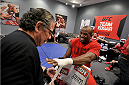 LAS VEGAS, NV - NOVEMBER 15:  Team Edgar fighter Eddie Gordon has his hands wrapped before facing team Penn fighter Mike King in their preliminary fight during filming of season nineteen of The Ultimate Fighter on November 15, 2013 in Las Vegas, Nevada. (Photo by Jeff Bottari/Zuffa LLC/Zuffa LLC via Getty Images) *** Local Caption *** Eddie Gordon