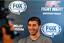 ALBUQUERQUE, NM - JUNE 05:  Rustam Khabilov interacts with media during the UFC Ultimate Media day at EXPO New Mexico on June 5, 2014 in Albuquerque, New Mexico. (Photo by Josh Hedges/Zuffa LLC/Zuffa LLC via Getty Images)
