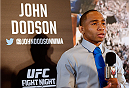 ALBUQUERQUE, NM - JUNE 05:  John Dodson interacts with media during the UFC Ultimate Media day at EXPO New Mexico on June 5, 2014 in Albuquerque, New Mexico. (Photo by Josh Hedges/Zuffa LLC/Zuffa LLC via Getty Images)