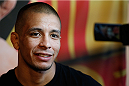 ALBUQUERQUE, NM - JUNE 05:  John Moraga interacts with media during the UFC Ultimate Media day at EXPO New Mexico on June 5, 2014 in Albuquerque, New Mexico. (Photo by Josh Hedges/Zuffa LLC/Zuffa LLC via Getty Images)
