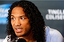 ALBUQUERQUE, NM - JUNE 05:  Benson Henderson interacts with media during the UFC Ultimate Media day at EXPO New Mexico on June 5, 2014 in Albuquerque, New Mexico. (Photo by Josh Hedges/Zuffa LLC/Zuffa LLC via Getty Images)