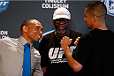 ALBUQUERQUE, NM - JUNE 05:  (L-R) Opponents John Dodson and John Moraga face off during the UFC Ultimate Media day at EXPO New Mexico on June 5, 2014 in Albuquerque, New Mexico. (Photo by Josh Hedges/Zuffa LLC/Zuffa LLC via Getty Images)