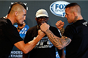ALBUQUERQUE, NM - JUNE 05:  (L-R) Opponents Diego Sanchez and Ross Pearson face off during the UFC Ultimate Media day at EXPO New Mexico on June 5, 2014 in Albuquerque, New Mexico. (Photo by Josh Hedges/Zuffa LLC/Zuffa LLC via Getty Images)
