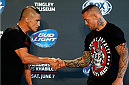 ALBUQUERQUE, NM - JUNE 05:  (L-R) Opponents Diego Sanchez and Ross Pearson shake hands during the UFC Ultimate Media day at EXPO New Mexico on June 5, 2014 in Albuquerque, New Mexico. (Photo by Josh Hedges/Zuffa LLC/Zuffa LLC via Getty Images)