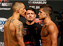 ALBUQUERQUE, NM - JUNE 06:  (L-R) Opponents Yaotzin Meza and Sergio Pettis face off during the UFC Fight Night weigh-in at Tingley Coliseum on June 6, 2014 in Albuquerque, New Mexico.  (Photo by Josh Hedges/Zuffa LLC/Zuffa LLC via Getty Images)