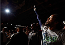 ALBUQUERQUE, NM - JUNE 07:  Benson Henderson enters the arena before his lightweight fight against Rustam Khabilov during the UFC Fight Night event at Tingley Coliseum on June 7, 2014 in Albuquerque, New Mexico.  (Photo by Josh Hedges/Zuffa LLC/Zuffa LLC via Getty Images)