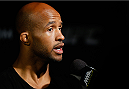 VANCOUVER, CANADA - JUNE 12:  Demetrious Johnson interacts with media after an open training session for media at the EA Sports Capture Lab on June 12, 2014 in Vancouver, British Columbia, Canada. (Photo by Josh Hedges/Zuffa LLC/Zuffa LLC via Getty Images)