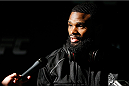 VANCOUVER, CANADA - JUNE 12:  Tyron Woodley interacts with media after an open training session for media at the EA Sports Capture Lab on June 12, 2014 in Vancouver, British Columbia, Canada. (Photo by Josh Hedges/Zuffa LLC/Zuffa LLC via Getty Images)