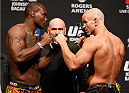 VANCOUVER, BC - JUNE 13:  (L-R) Opponents Ovince Saint Preux and Ryan Jimmo face off during the UFC 174 weigh-in at Rogers Arena on June 13, 2014 in Vancouver, Canada.  (Photo by Josh Hedges/Zuffa LLC/Zuffa LLC via Getty Images)