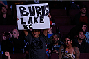 VANCOUVER, BC - JUNE 14:  Fans display a sign in support of Kajan Johnson from Burns Lake, BC during his lightweight bout against Tae Hyun Bang at Rogers Arena on June 14, 2014 in Vancouver, Canada.  (Photo by Josh Hedges/Zuffa LLC/Zuffa LLC via Getty Images)