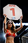 VANCOUVER, BC - JUNE 14:  UFC Octagon Girl Britney Palmer signals the start of round one between Valerie Latourneau and Elizabeth Phillips during the UFC 174 event at Rogers Arena on June 14, 2014 in Vancouver, British Columbia, Canada. (Photo by Jeff Bottari/Zuffa LLC/Zuffa LLC via Getty Images)