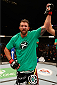 VANCOUVER, BC - JUNE 14:  Ryan Bader reacts after his decision victory over Rafael