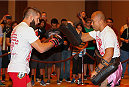 SAN ANTONIO, TX - JUNE 26:  Jeremy Stephens (L)  holds an open training session at the Grand Hyatt San Antonio on June 26, 2014 in San Antonio, Texas. (Photo by Ed Mulholland/Zuffa LLC/Zuffa LLC via Getty Images)