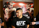 SAN ANTONIO, TX - JUNE 26:  Kelvin Gastelum speaks to the media after his open training session at the Grand Hyatt San Antonio on June 26, 2014 in San Antonio, Texas. (Photo by Ed Mulholland/Zuffa LLC/Zuffa LLC via Getty Images)