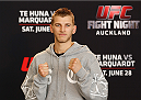 AUCKLAND, NEW ZEALAND - JUNE 26:  Dan Hooker poses for photos during the UFC Ultimate Media Day at The Cloud at Queen's Wharf on June 26, 2014 in Auckland, New Zealand.  (Photo by Josh Hedges/Zuffa LLC/Zuffa LLC via Getty Images)