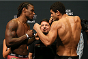 SAN ANTONIO, TX - JUNE 27:   Clint Hester (left) and Antonio Braga Neto (right) pose after weighing in for their UFC Fight Night bout at the AT&T Center on June 27, 2014 in San Antonio, Texas. (Photo by Ed Mulholland/Zuffa LLC/Zuffa LLC via Getty Images)