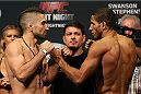 SAN ANTONIO, TX - JUNE 27:  Ricardo Lamas (left) and Hacran Dias (right) pose after weighing in for their UFC Fight Night bout at the AT&T Center on June 27, 2014 in San Antonio, Texas. (Photo by Ed Mulholland/Zuffa LLC/Zuffa LLC via Getty Images)