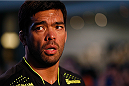 LAS VEGAS, NV - JULY 02:  UFC middleweight title challenger Lyoto Machida holds an open training session ahead of UFC 175 at the Fashion Show Mall on July 2, 2014 in Las Vegas, Nevada.  (Photo by Josh Hedges/Zuffa LLC/Zuffa LLC via Getty Images)